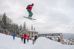 跳高滑雪 库存图片