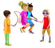 跳2个女孩的绳索结合在一起使手 库存例证