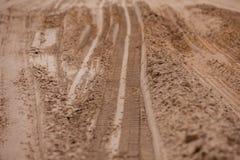 践踏一个卡车轮胎的样式在软的土壤的 图库摄影