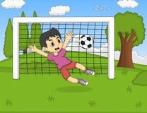 踢在公园动画片的孩子足球 库存照片