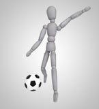 踢在白色背景的人足球 图库摄影