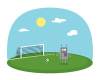 踢在绿色地面的机器人男孩橄榄球 与球和漫画人物的足球场 免版税图库摄影