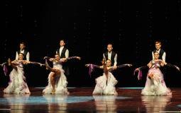 踢开花的紫罗兰以色列民间舞蹈这奥地利的世界舞蹈 免版税库存照片