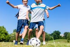 踢橄榄球的家庭在公园在夏天 库存图片