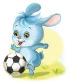 踢橄榄球的野兔 向量例证