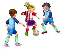 踢橄榄球足球的小孩子 免版税库存照片