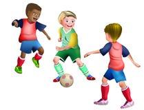 踢橄榄球足球的3个小孩子 免版税库存图片