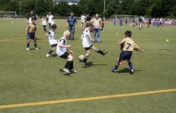 踢足球的孩子在夏天在一个室外草竞技场 库存图片