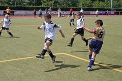 踢足球的孩子在夏天在一个室外草竞技场 图库摄影