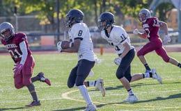 踢高中橄榄球的青年 免版税库存照片