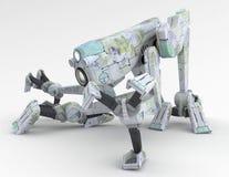 蹲下机器人步行者 库存照片