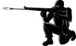 蹲下的战士 免版税图库摄影