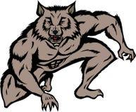 蹲下的狼人 免版税库存照片