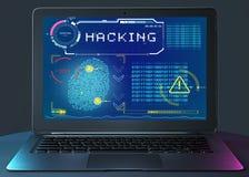 身份窃取,个人资料数据采集,欺骗 得到内容非法地,被盗版的软件 违犯数据库的黑客 图库摄影