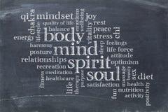 身体、头脑、精神和灵魂措辞云彩 库存照片