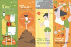 身体和头脑平的横幅集合的瑜伽生活 图库摄影