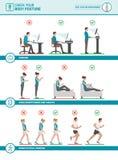 身体姿势人体工程学和改善 向量例证