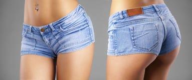 身体局部性感的蓝色短裤 免版税库存照片