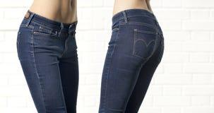 身体局部蓝色女性牛仔裤 免版税图库摄影
