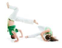 身体接触项目。Capoeira 免版税图库摄影