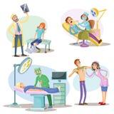 身体检查和治疗导航患者和医生的例证在医院外科医生、牙医和治疗师 皇族释放例证
