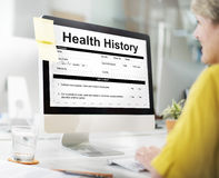 身体检查形式要求历史记录概念 免版税库存图片