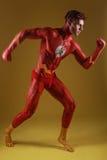 身体被绘的人当幻想普通超级英雄 免版税图库摄影