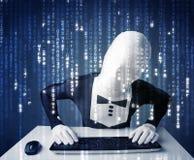 身体面具解码信息的黑客从未来派网络 库存图片