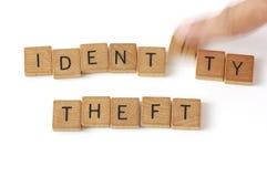 身份窃取木头信件 免版税库存图片