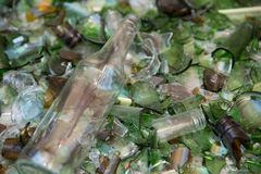躺在残破的玻璃上床的酒瓶逃脱压碎器在一种回收的设施 图库摄影