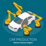 车厂或汽车生产概念 机器人学产业洞察 汽车和电子顶面产业 向量例证