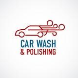 洗车和擦亮的商标模板 免版税库存图片