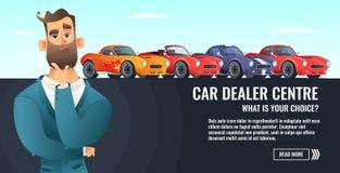 车商中心概念横幅 汽车salling或租 汽车业动画片样式例证 库存图片