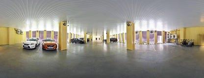 车商和服务中心球状全景视图  俄罗斯,莫斯科, 2016年6月06日 库存图片