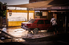 洗车在小镇 图库摄影