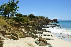 车床工海滩在安提瓜岛,加勒比 免版税库存图片