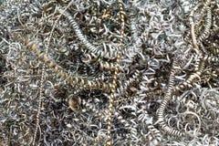 从车床机器的金属废料 免版税库存照片