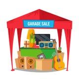 车库售物传染媒介 销售项目 准备庭院旧货出售 被隔绝的平的漫画人物例证 免版税库存图片