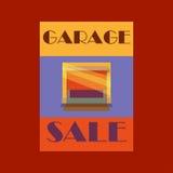 车库或庭院旧货出售与标志、箱子和家庭项目 库存图片