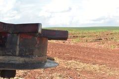 车用甘蔗收获机具 在领域的工作 对植物的运输在巴西 免版税库存照片
