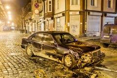 车祸在夜之前 库存图片