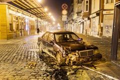 车祸在夜之前 免版税库存图片