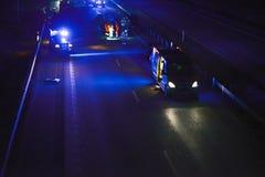 车祸在晚上 库存照片