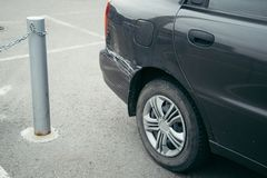 车祸,在汽车的抓痕 库存照片