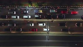 车空中风景在夜交通的 股票视频