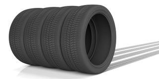 车胎和踪影在白色背景 3d例证 皇族释放例证