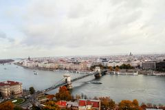 车臣铁锁式桥梁在布达佩斯 库存图片