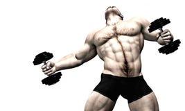 车身制造厂起重器男性性感的重量 免版税库存图片