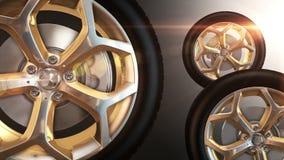 车轮金黄轮胎自转 库存例证