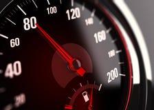 车速表,在80 km的限速每个小时 库存照片
